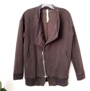 Lululemon Asymmetrical Zip Up Striped Sweater Coat